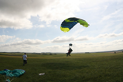 Vikki Overend lands after her skydive to raise money for the Parkinson's Disease Charity